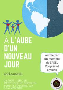 Café citoyen : à l'aube d'un nouveau jour @ Institut St Berthuin | Namur | Wallonie | Belgique
